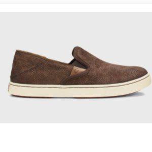 OluKai Shoes Women's Pehuea Leather Slip On 8.5